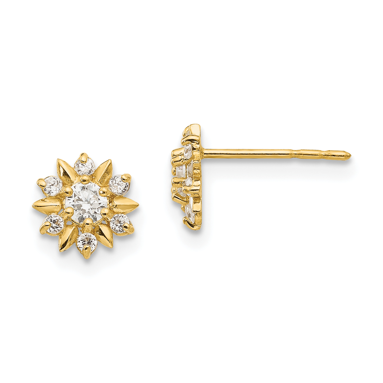 14k Madi K CZ D//C Childrens Flower Post Earrings in 14k Yellow Gold