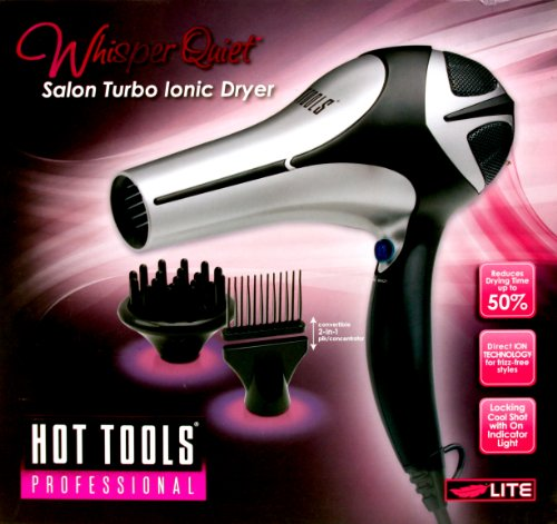 HOT TOOLS HT7000Q Whisper Quiet Ionic Dryer, Black/Silver