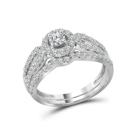 14kt White Gold Womens Round Diamond Halo Split-shank Bridal Wedding Engagement Ring Band Set 1.00 Cttw (Certified) - image 3 de 3