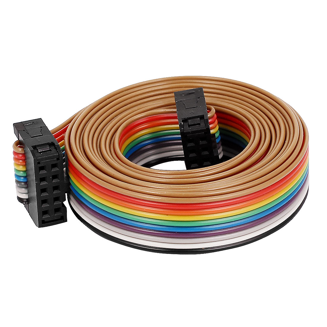 2.54mm Pitch 10Pin 10 Way F/F Connector IDC Flat Rainbow Ribbon ...