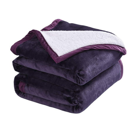 MarCielo Sherpa Blanket Throw Blankets Bed Blankets, Sherpa Fleece Throw Blanket Super Soft Warm Blanket Velvet Plush (Twin, Purple) Twin Blanket Throw