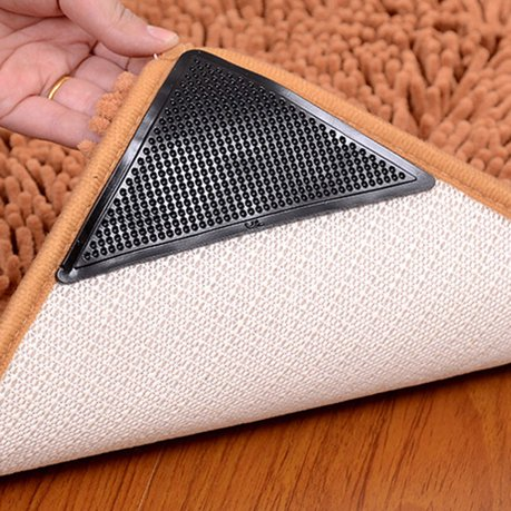 Reusable Non Slip Skid Ruggies Rug Grippers Carpet Pad Underlay Tape Black 4pcs