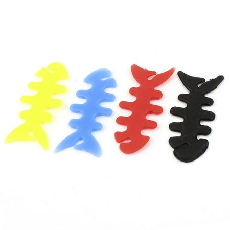 Rubber Fish (Unique Bargains Assorted Color Rubber Fish Bone Earphone Headset Wire Wrap Holder Winder)