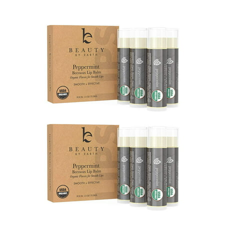 Lip Balm - Organic Pack of 4 Tubes Peppermint Moisturizer to Repair for Dry, Chapped and Cracked Lips with Best Natural Ingredients and Minty Tingle - (2