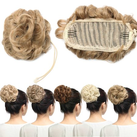 S-noilite Real Natural Curly Messy Hair Buns Extensions Hair Piece Scrunchie Updo Hair Extensions Blond to Bleach blonde-50g