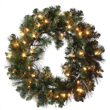 Prelit Christmas Wreath.Holiday Time Pre Lit 24 Scottsdale Pine Artificial Christmas Wreath Clear Lights