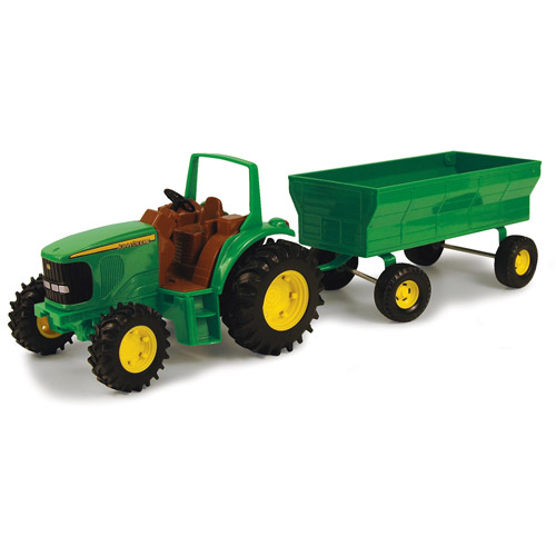 "John Deere Toy Tractor Set, 8"" Tractor with Flarebox Wagon by TOMY International"