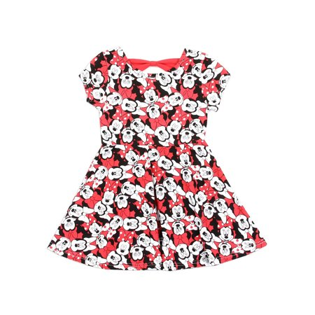 Disney Little Girls' Minnie Mouse Allover Print Knit Dress, Red (2T) - Minnie Mouse First Birthday Dress