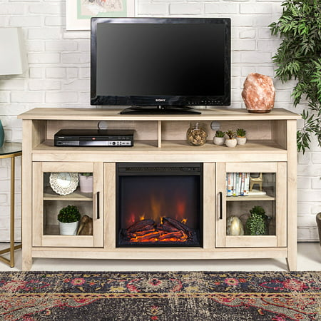 Walker Edison 58-in. Wood Highboy Fireplace Media TV Stand Console