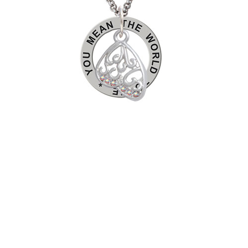 Open Clear AB Crystal Butterfly Wing You Mean The World To Me Affirmation Ring Necklace