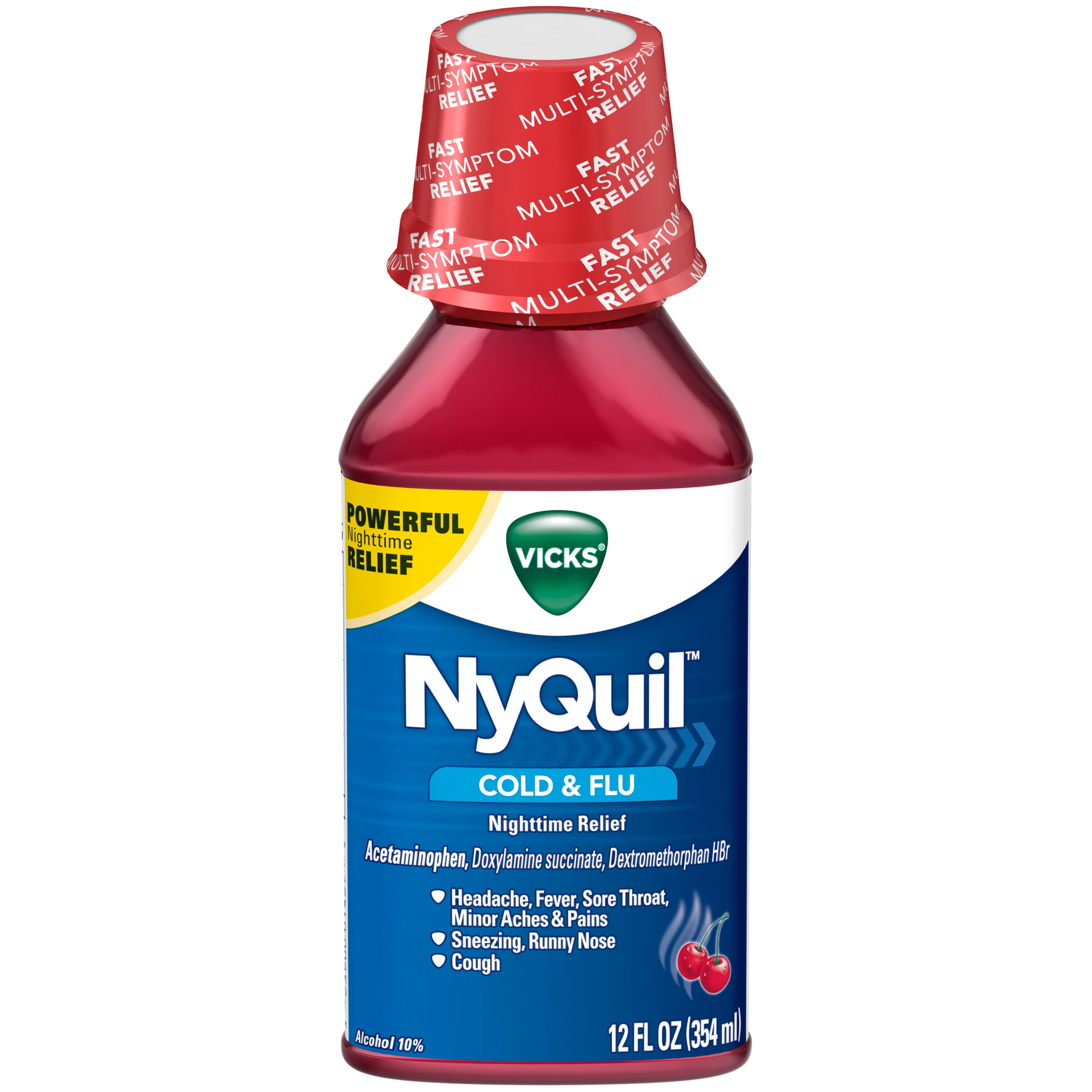 Vicks® NyQuil™ Cold & Flu Nighttime Relief Liquid, 12 Oz