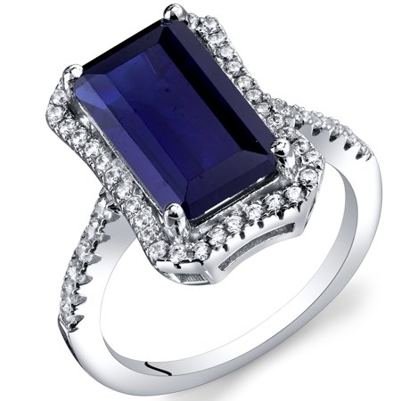 4.50 Carats Created Sapphire Octagon Ring in Sterling - Perma Rings