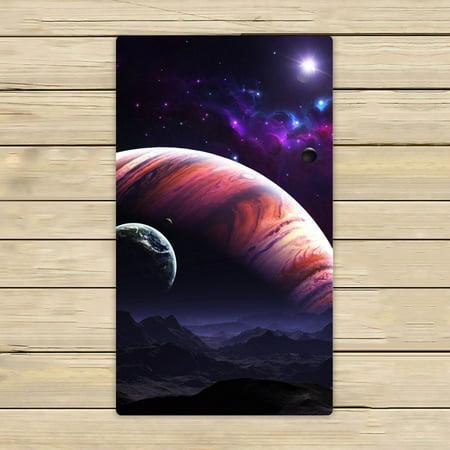 GCKG Nebula Galaxy Moon Space Planet Star Universe Art Hand Towel,Spa Towel,Beach Bath Towels,Bathroom Body Shower Towel Bath Wrap Size 16x28 inches