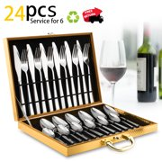 Silverware Set, Lekoton 24 pcs Stainless Steel Silverware Sets Service for 6 with Luxury Gift Box
