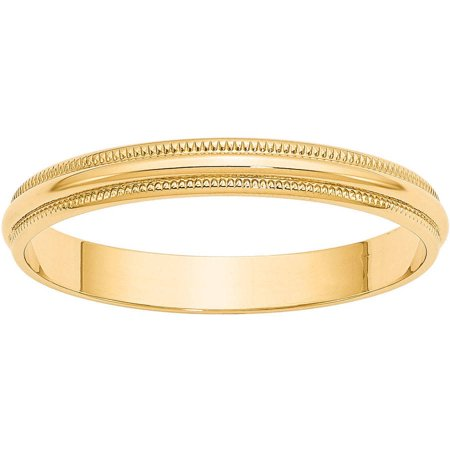 Yellow Gold Kids Ring - 10KY 3mm LTW Milgrain Half Round Band Size 7