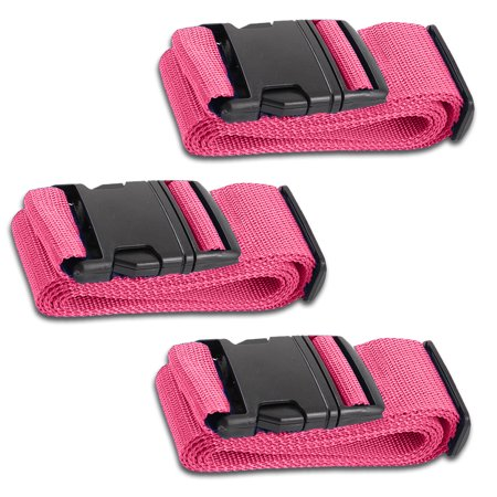 HeroFiber Pink Luggage Belts Suitcase Straps Adjustable and Durable, Travel Case Accessories, 3