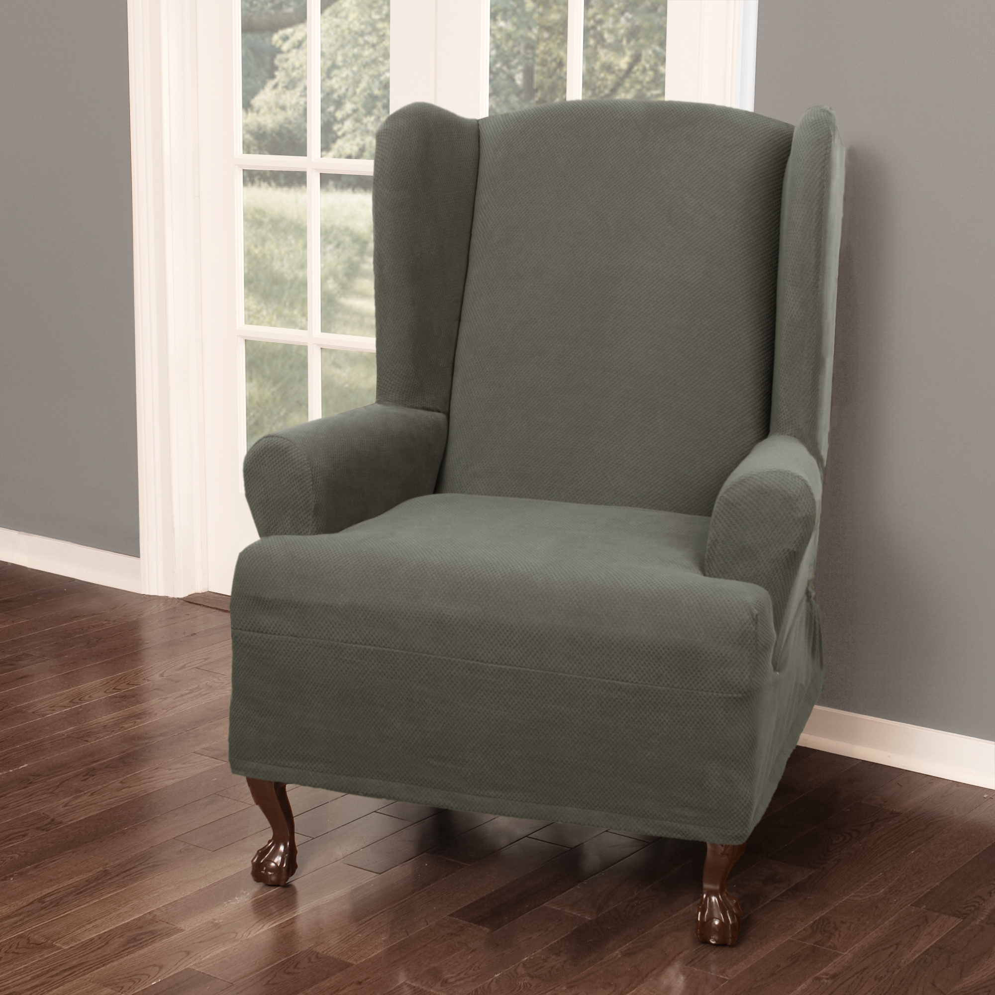 New MAYTEX Pixel Ultra Soft Stretch 1 Piece Wing Back Arm Chair Furniture Cov..