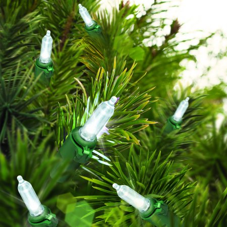 Holiday Time LED Mini Light Set Green Wire Cool White Bulbs, 300 ...