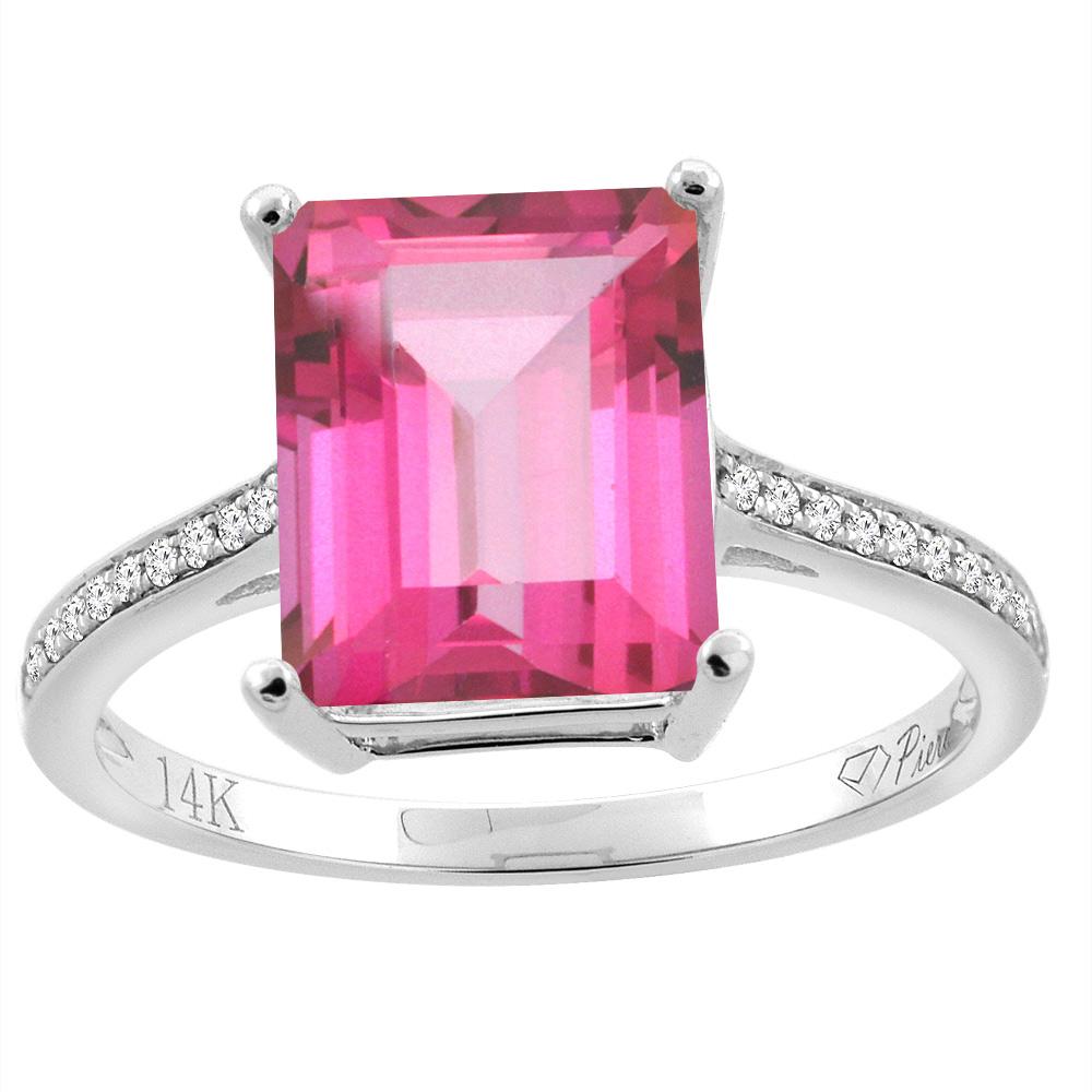 14K Gold Natural Pink Topaz Ring Octagon 10x8 mm Diamond Accents ...