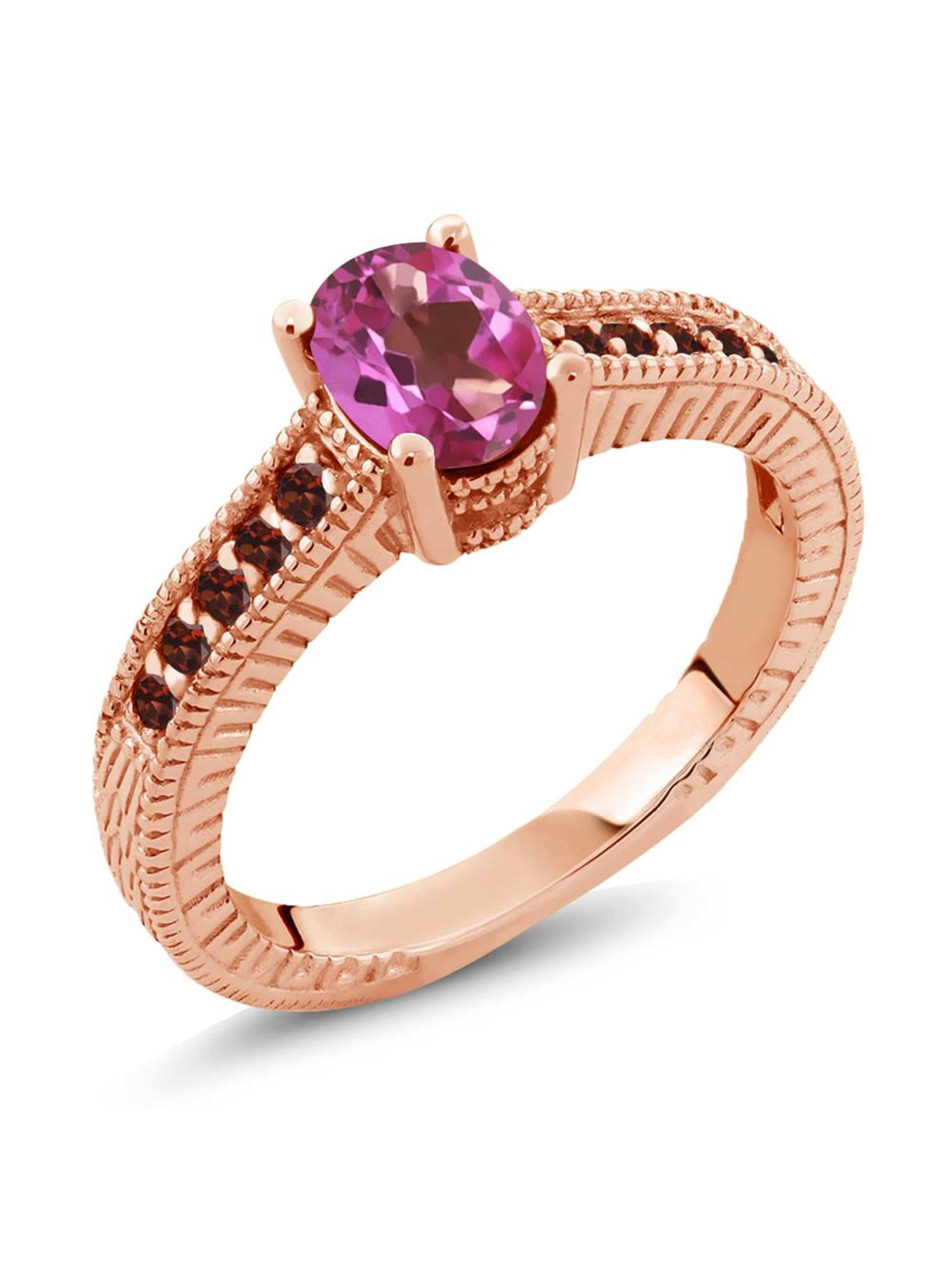 1.35 Ct Oval Pink Mystic Topaz Red Garnet 18K Rose Gold Plated Silver Ring by