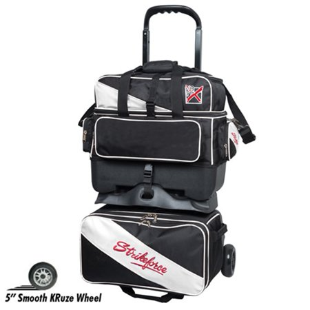 KR Strikefore Fast 4 Ball Roller Bowling Bag- Black/White - 4 Ball Bowling Bags