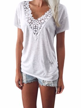 Womens Blouses Clearance Short Sleeve Floral Solid