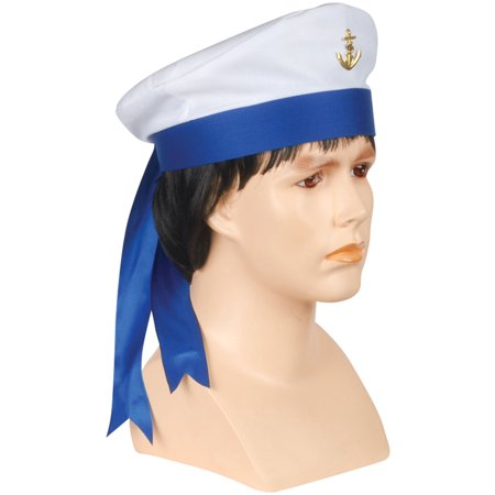 Loftus Navy Captain Sailor Cap With Ribbon Costume Hat, White, One Size