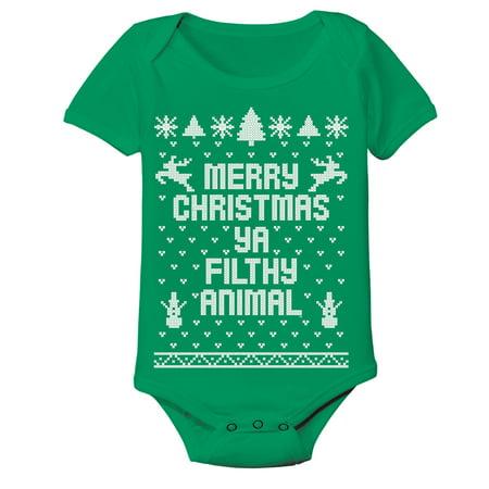 Baby Merry Christmas Ya Filthy Animal Xmas 12 Months Green