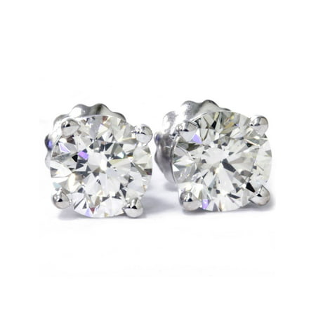 VS 2 cttw Round Diamond Studs With Screw Backs (Cttw Round Diamond Studs)