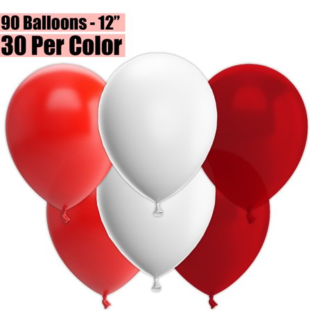 12 Inch Party Balloons, 90 Count - Red + White + Burgundy Wine - 30 Per Color. Helium Quality Bulk Latex Balloons In 3 Assorted Colors - For Birthdays, Holidays, Celebrations, and More!!](90 Birthday Ideas)