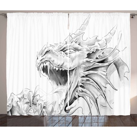 Dragon Curtains 2 Panels Set, Sketch of A Medieval Spiritual Character Mythological Creature Abstract Design, Window Drapes for Living Room Bedroom, 108W X 108L Inches, Pale Grey White, by Ambesonne