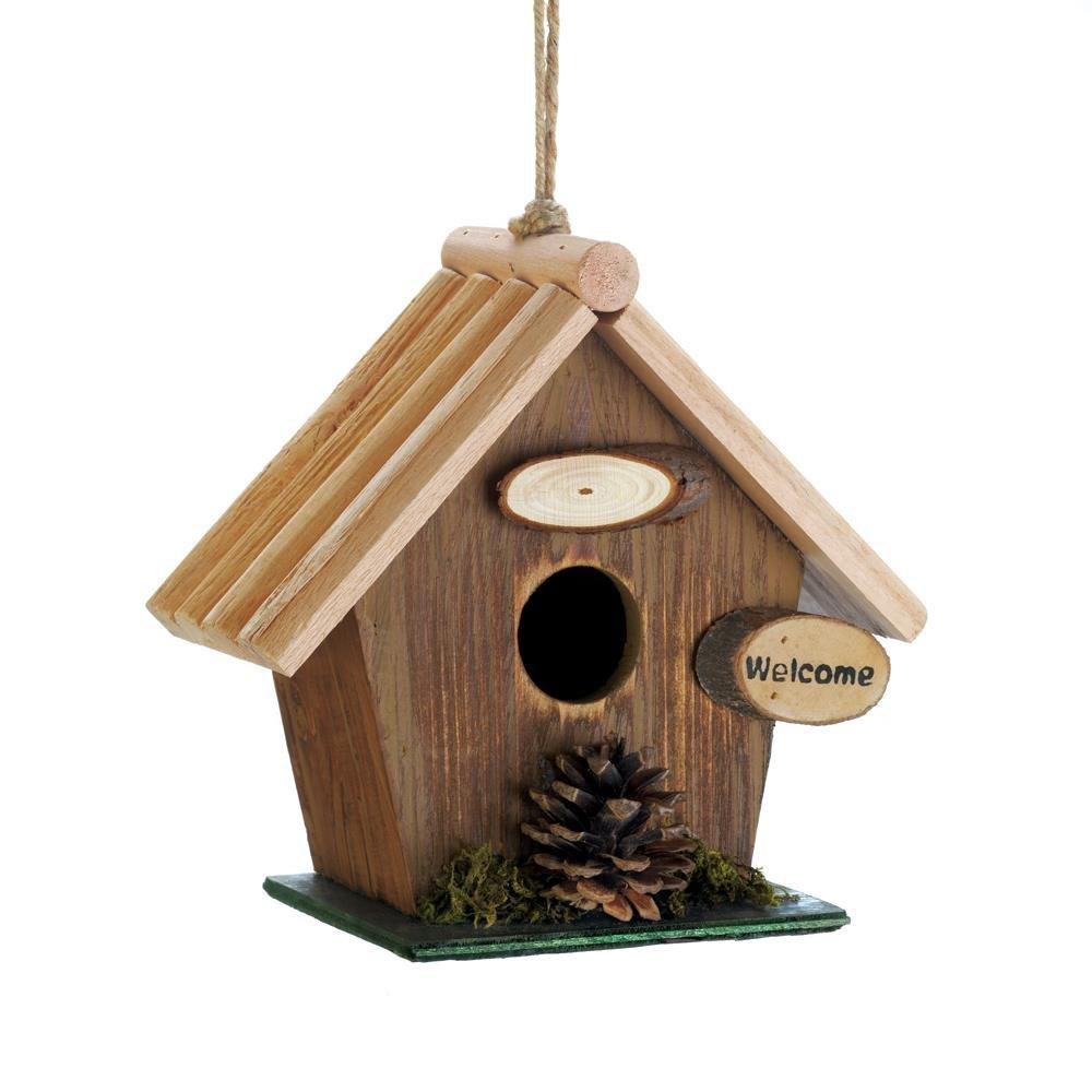 Bird House Decor, Pine Cone Wooden Hanging Outdoor Rustic Decorative Bird House
