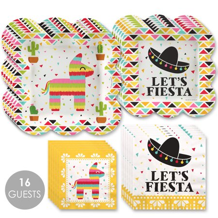 Let's Fiesta - Mexican Fiesta Tableware Plates and Napkins - Bundle for 16](Fiesta Plates)