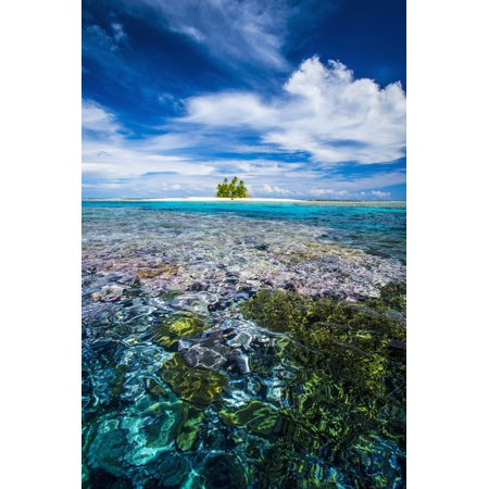 An island that forms part of the marine park near the Tuvalu mainland Tuvalu Canvas Art - David Kirkland Design Pics (12 x 19)