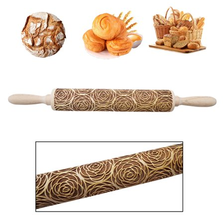 Reactionnx Kitchen Wooden Rolling Pin Blooming Flowers Embossing Baking Cookies Cake Dough Xmas Roller Drum Homemade Printed Pastry