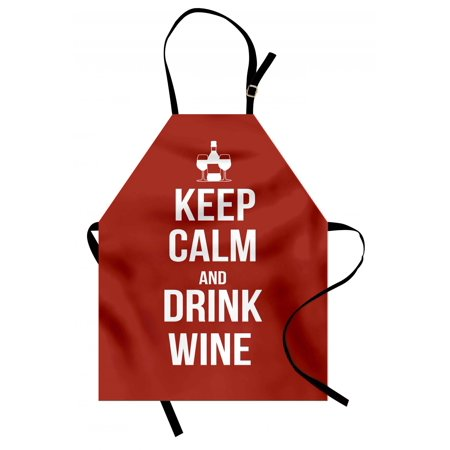 Keep Calm Apron Wine Theme with a Bottle and Two Glasses Popular Slogan About Alcoholic Drink, Unisex Kitchen Bib Apron with Adjustable Neck for Cooking Baking Gardening, Ruby White, by - Halloween Themed Alcoholic Drink
