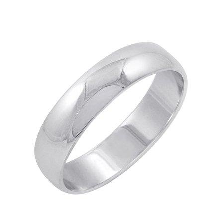 Men's 14K White Gold 5mm Traditional Plain Wedding Band (Available Ring Sizes 8-12 (Traditional Gold Wedding Band Ring)