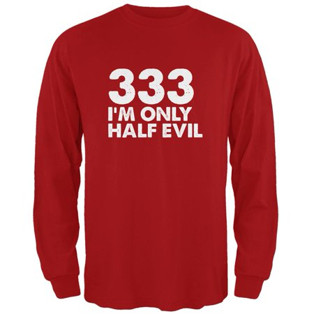 Halloween 333 Half Evil Red Adult Long Sleeve T-Shirt (Half And Half Halloween Makeup)