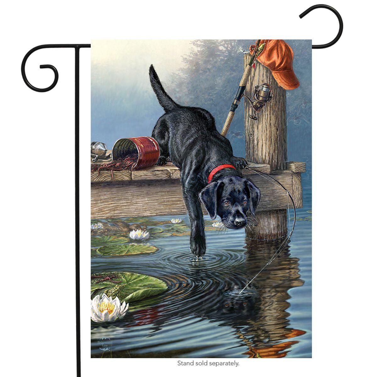 "fishing buddy summer garden flag dog lake pier 12.5"" x 18"""