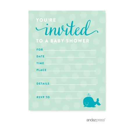 Boy Whale Nautical Baby Shower Blank Invitations, 20-Pack