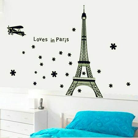 Paris Eiffel Tower Night Fluorescent Wall Sticker Mural Vinyl Decal Home Room Decoration for $<!---->
