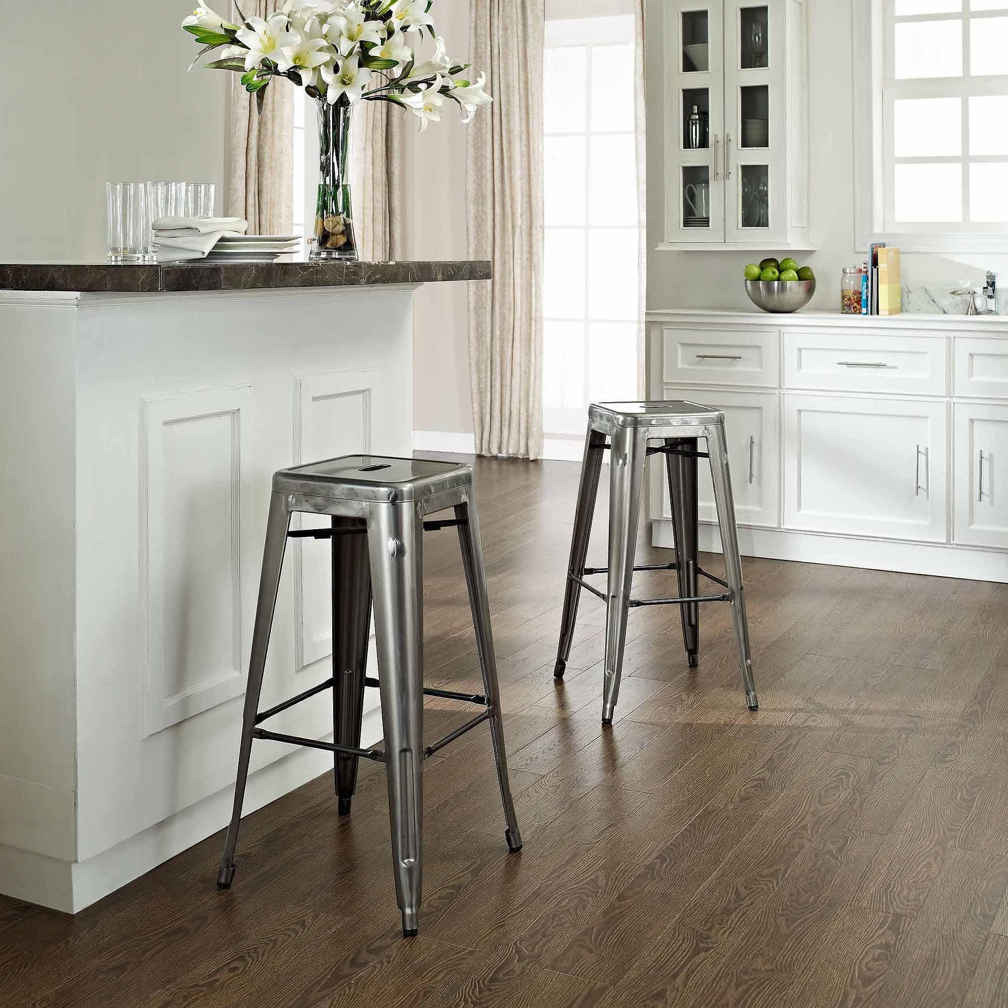 Crosley Furniture Amelia Metal Cafe Barstool in Galvanized 2pk