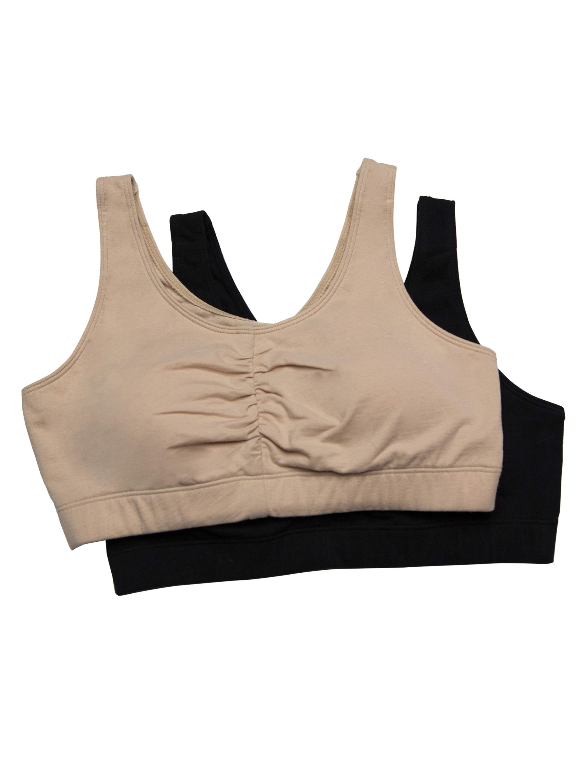 Womens Shirred Front Sport Bra with Removable Bra Pads, Style FT438, 2-Pack