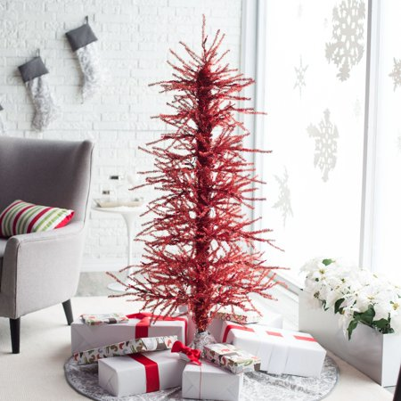 5ft. Pre-Lit Red Tinsel Twig Christmas Tree by Sterling Tree ...