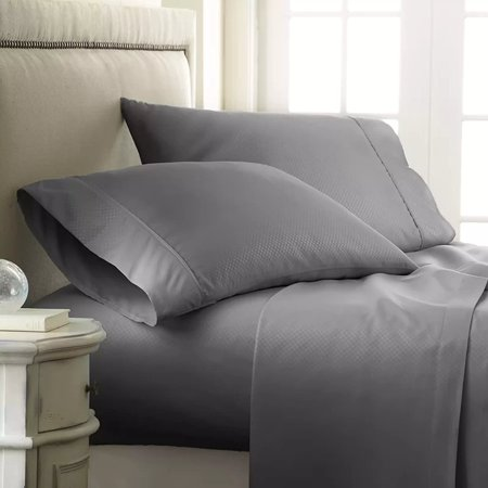Silky Soft  1500 Thread Count  4-Piece Bed Sheet Set Checkered Square Pattern Wrinkle Free, 100% HypoAllergenic, Queen, Gray