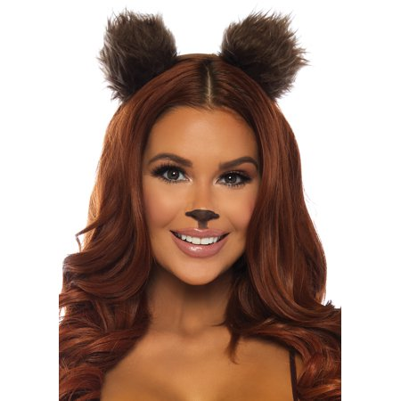 Brown Bear Ears Headband Adult Halloween Accessory - Bear Face For Halloween