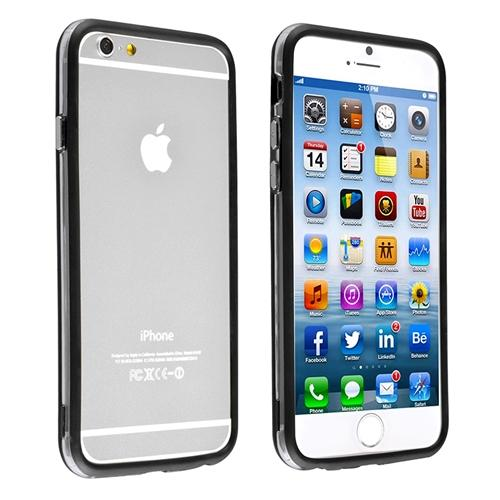 "Insten Clear/Black TPU Soft Bumper Case Frame with metal Button For iPhone 6 6S 4.7"" Inches"