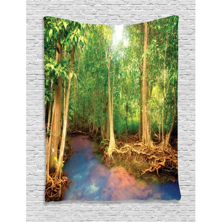 Rainforest Decorations Wall Hanging Tapestry, Roots Of Mangrove Trees With Turquoise Creek Asian Nature Wildlife Decoration, Bedroom Living Room Dorm Accessories, By Ambesonne