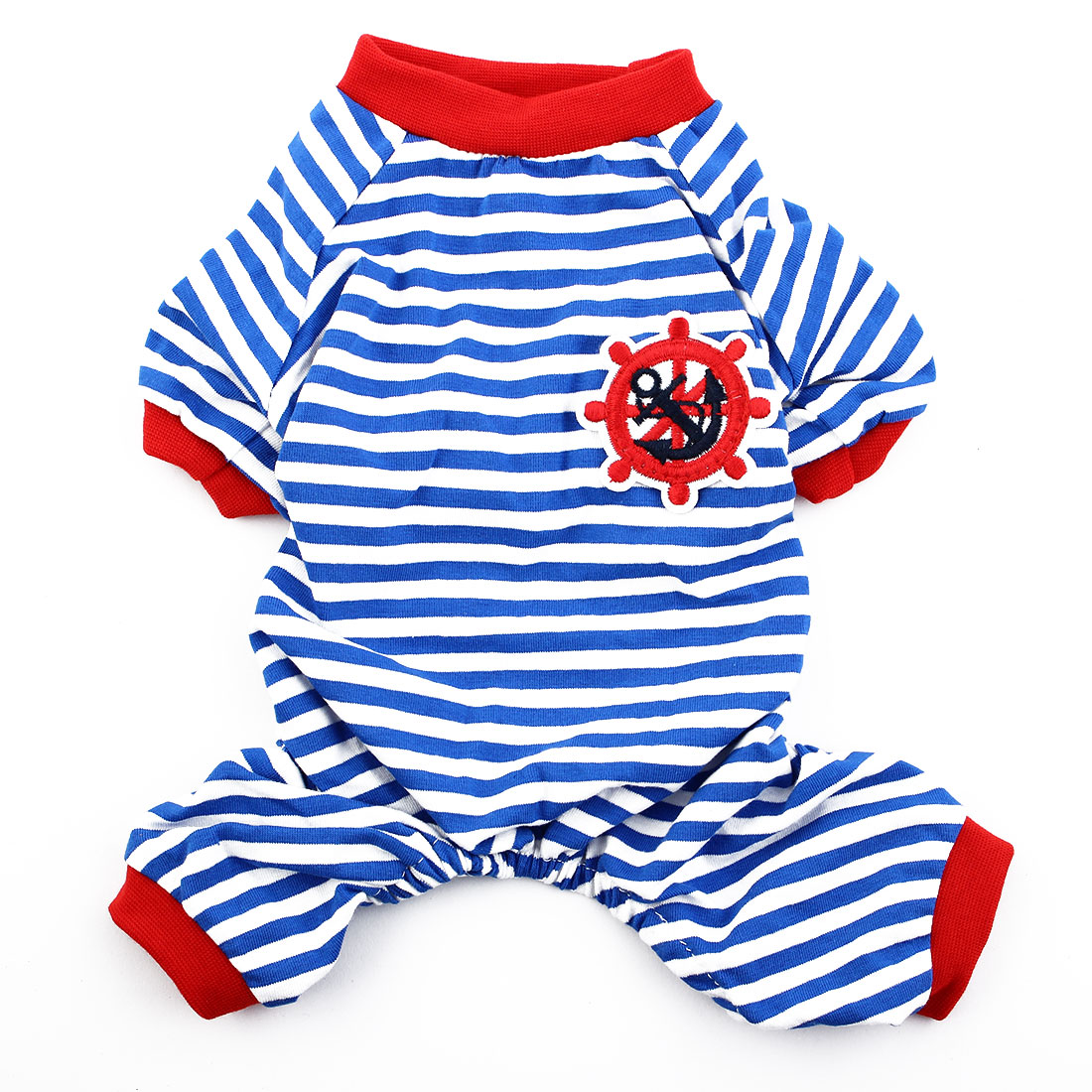 Pet Dog Puppy Anchor Rudder Embroidery Pattern Stripe Clothes Pajamas Size M