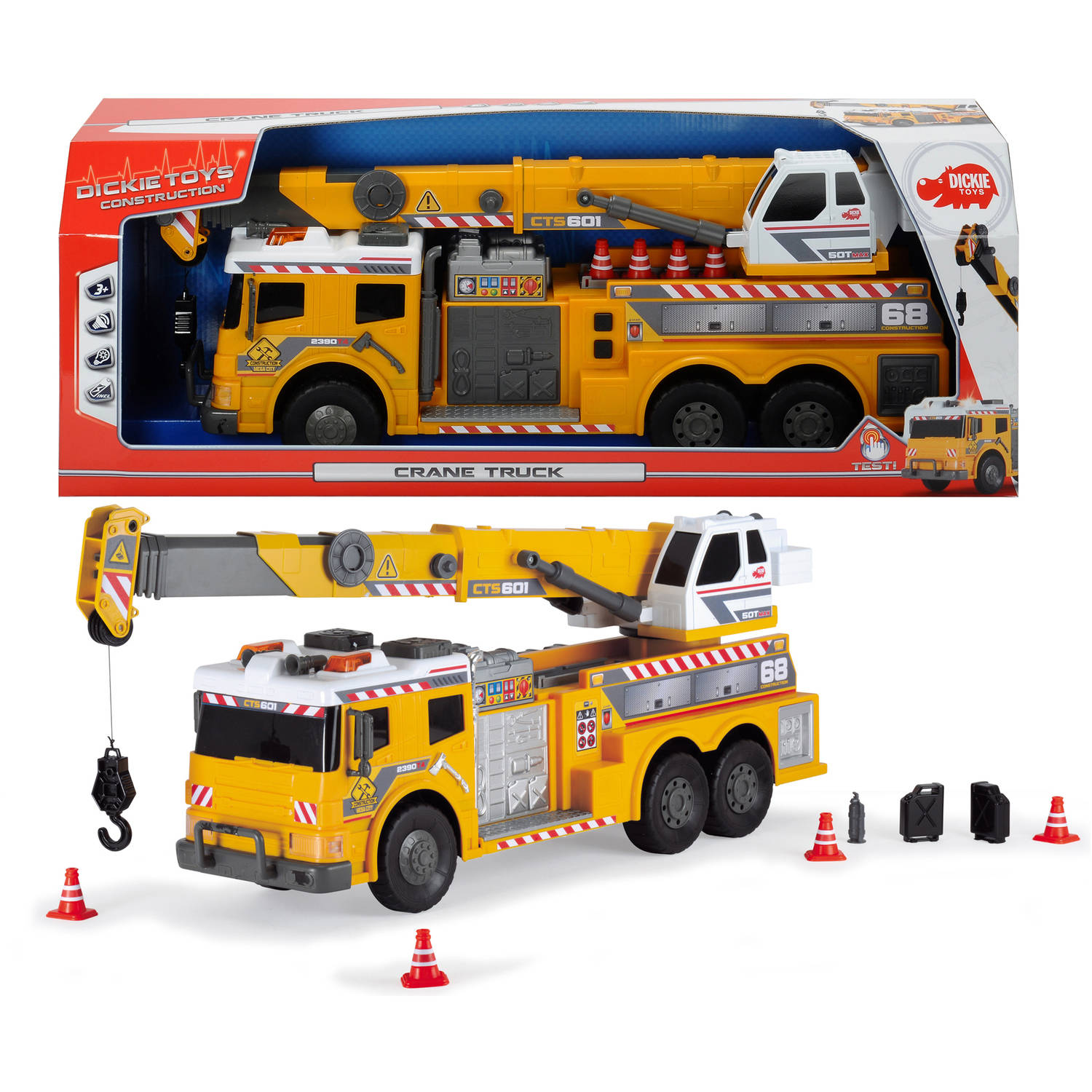 "Dickie Toys 24"" Light and Sound Action Crane Truck with Moving Ladder by Dickie Toys"